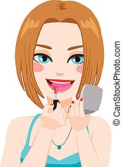 frau, lippenstift, spiegel