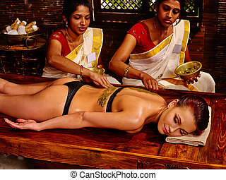 frau, luxuriating, in, indien, spa, massage.