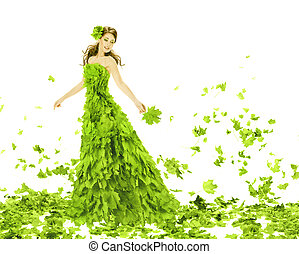 frau mädchen, dress., mode, aus, blätter, schoenheit, jahreszeiten, sommer, fantasie, kleid, kreativ, grün, hintergrund., fruehjahr, schöne , weißes