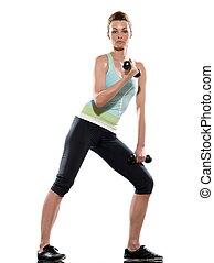 frau, machen, bizeps, workout, weiß, freigestellt, backgroun