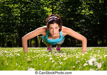 frau, machen, schieben, ups, fitness, workout