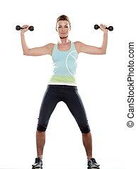 frau, machen, workout, weiß, freigestellt, backgroun