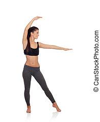 frau, machen, yogaübungen
