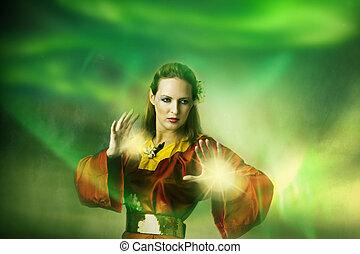 frau, magic., weihnachtshelfer, junger, hexe, machen, oder