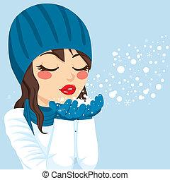 frau, magisches, schnee, blasen, weihnachten