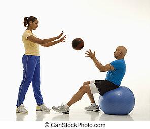 frau mann, exercising.