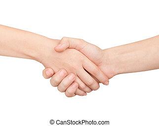 frau mann, handshaking., freigestellt, auf, white.