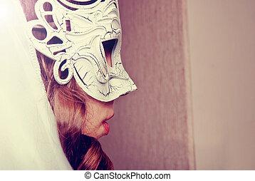frau, maske