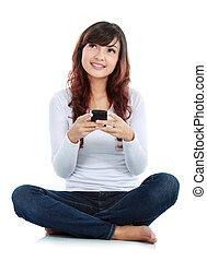 frau, messaging, text
