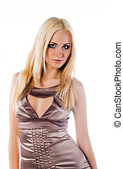 frau, mit, a, langer, blondes haar