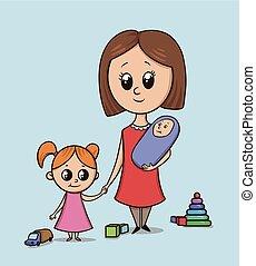 frau, mit, a, m�dchen, und, a, baby, auf, a, spielplatz, unter, toys., babysitter, oder, mutti, mit, a, kleinkind, hält, m�dchen, per, der, hand., freigestellt, vektor, abbildung, auf, a, blaues, hintergrund., große augen, karikatur, stil, characters.
