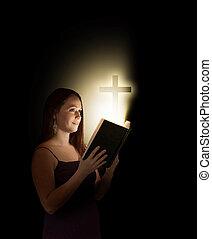frau, mit, bibel
