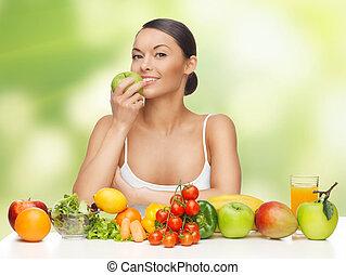 frau, mit, früchte gemüse