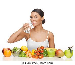 frau, mit, gesundes essen