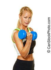 frau, mit, gewichte, während, training, für, stärke