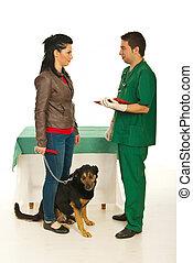 frau, mit, hund, besuch, tierärztliche