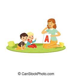 frau, mit, kleinkinder, sitzen, auf, runder , teppich, und, spielende , in, erzieherisch, spiel, für, vortrag halten , development., wohnung, leute, charaktere