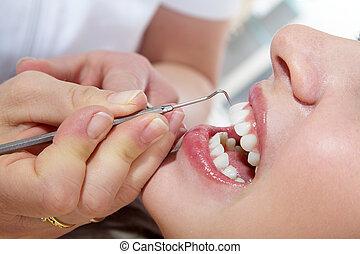 frau, mit, kosmetisch, dental