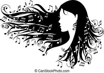 frau, mit, musik merkt