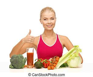 frau, mit, organisches essen