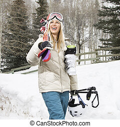frau, mit, ski, gear.