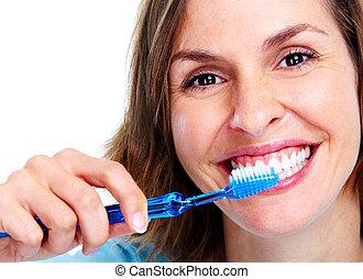 frau, mit, toothbrush.