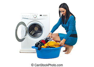 frau, mit, waschmaschine