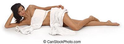 frau, mit, weißes, handtücher