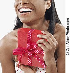 frau, mittel-erwachsener, besitz, geschenk