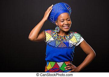 frau, mode, afrikanisch