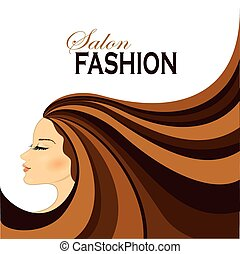 frau, mode, langer, hair.