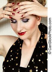 frau, mode, make-up