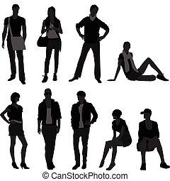 frau, mode, weibliches modell, mann, mann