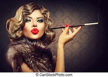 frau, mouthpiece., schoenheit, weinlese, retro, styled