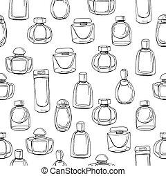 frau, muster, endlos, mode, beschaffenheit, fabrics., verschieden, schwarz, seamless, white., verpackungen, flaschen, perfume., kontur, design