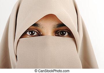 frau, niqab, moslem, schal, schleier