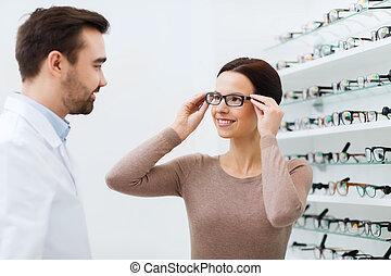 frau, Optik, kaufmannsladen, Wählen, Brille