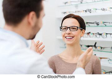 frau, Optik, optiker, kaufmannsladen, Brille