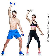 frau, paar, freigestellt, fitness, übungen, mann