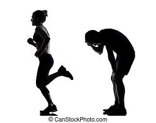 frau, paar, trainieren, eins, fitness, workout, mann