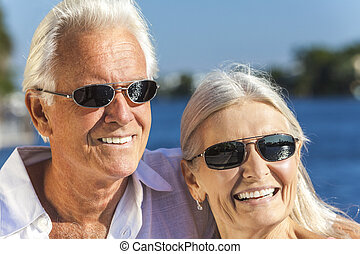 frau, paar, tropische , meer, älterer mann, glücklich