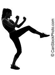 frau, persönlicher trainer, schwarz tragen, sportkleidung