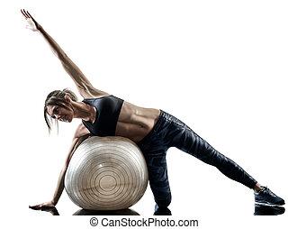 frau, pilates, fitness, schweizer kugel, übungen, silhouette, freigestellt
