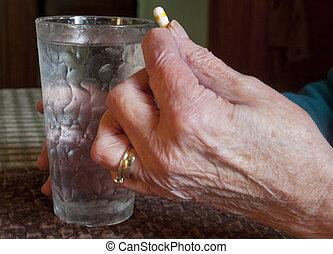 frau, pille, Senioren