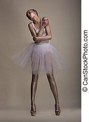 frau, pose., kleiden, dramatisch, weißes, verführerisch, tutu, durchsichtig, träume