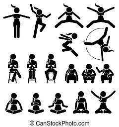 frau, positions., sitzen, handlungen, springen, grundwortschatz