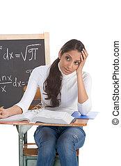 frau, prüfung, studieren, indische , student, mathe