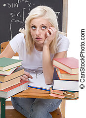 frau, prüfung, studieren, student, kaukasier, mathe