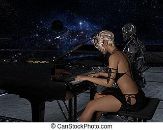 frau, raum, auf, roboter, hintergrund, schließen, piano, spielt