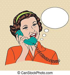 frau reden, telefon, popart, retro, komiker